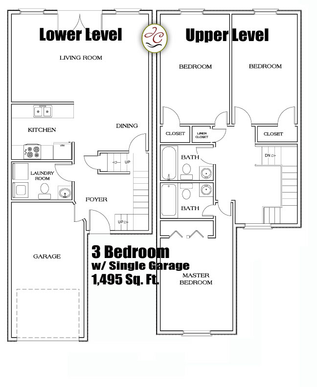 3 beroom townhouse floorplans atjackson crossing for Townhouse layout 3 bedrooms