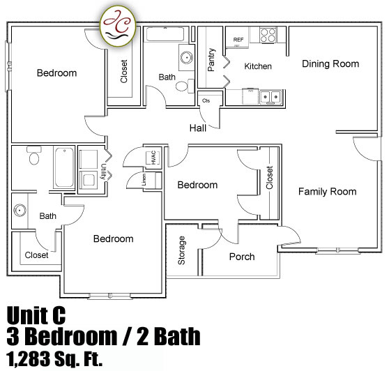 Unit c floor plan at jackson crossing apartments Townhouse layout 3 bedrooms