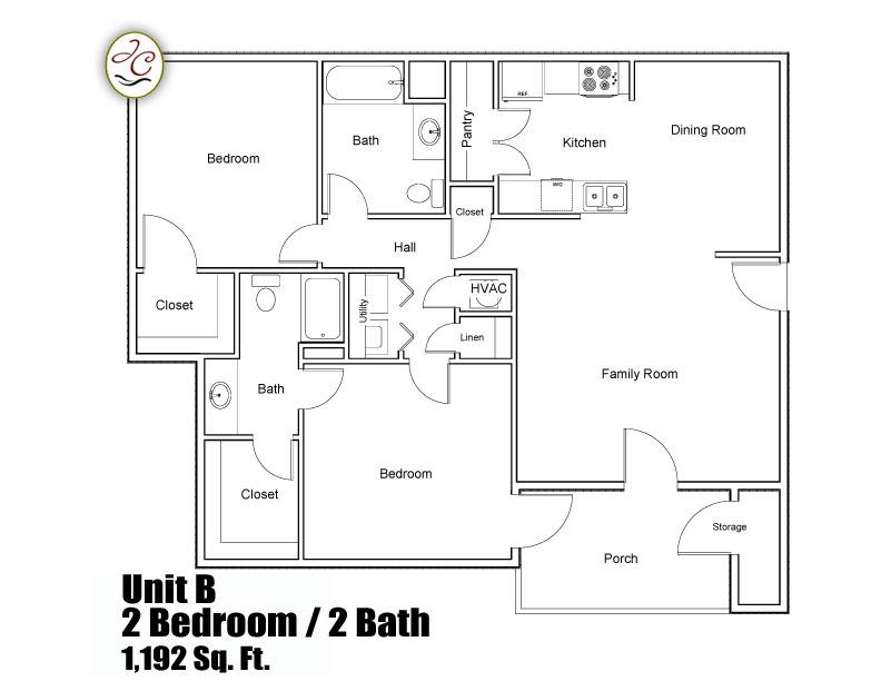 Unit B Floor Plan At Jackson Crossing Apartments